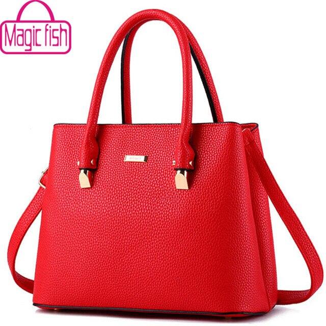 Magic Fish 2017 Women Leather Handbag Brands Messenger Bags Las High Quality Pouch