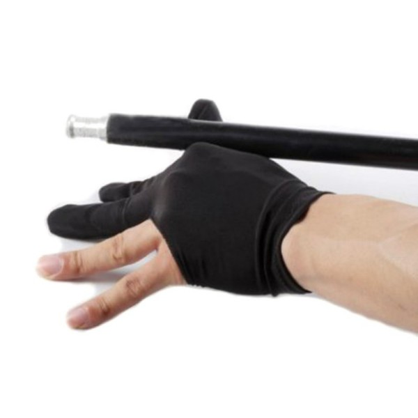 1 Pcs Black Elastic Nylon Billiards Game Cue Wrist Glove Snooker Billiard Cue Glove Pool Left Hand Open Three Finger Accessory