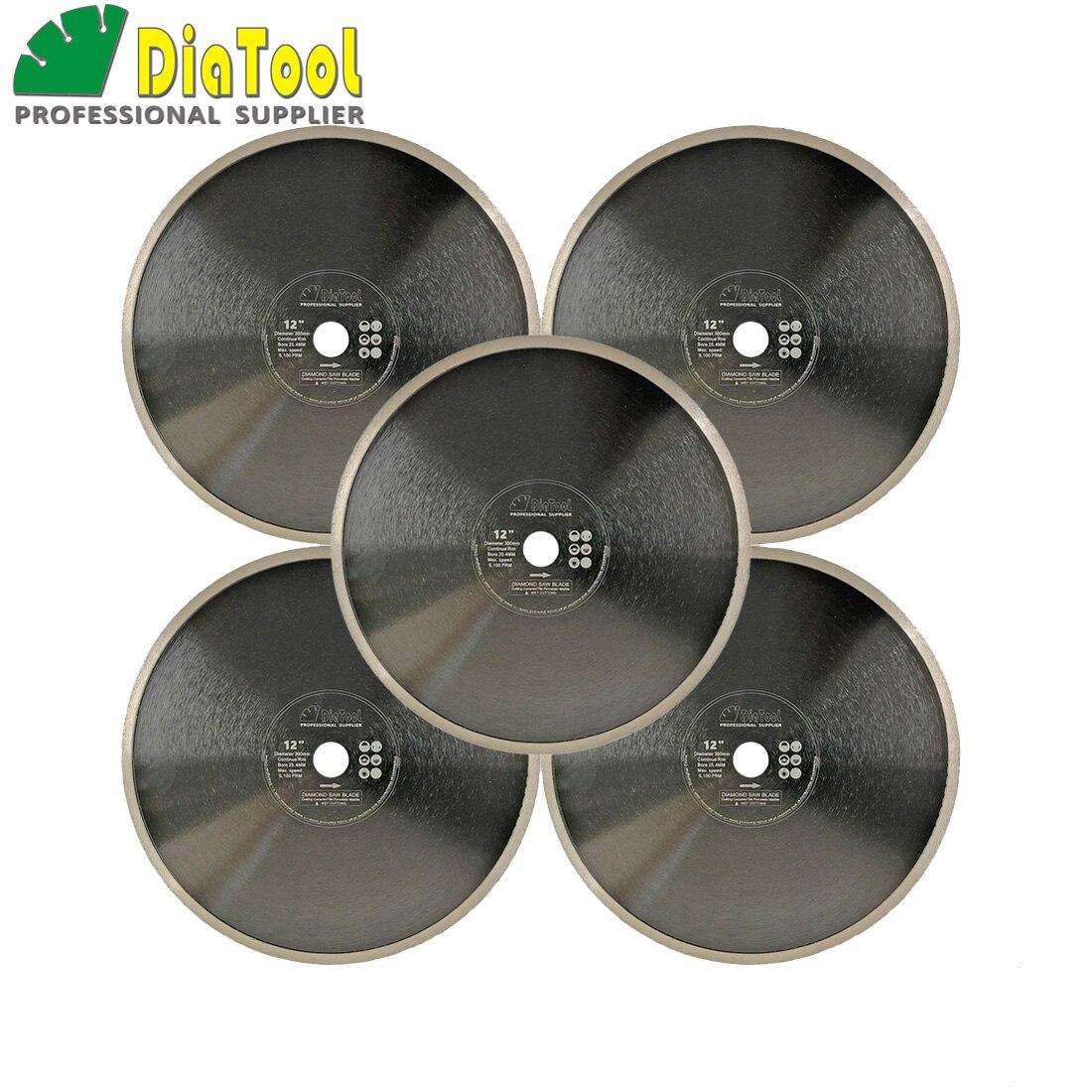 цена на DIATOOL 5pcs Dia300mm Hot pressed Continue rim Saw Blades diamond cutting Disc Porcelain Tile Ceramic marble Diamond Wheel disk