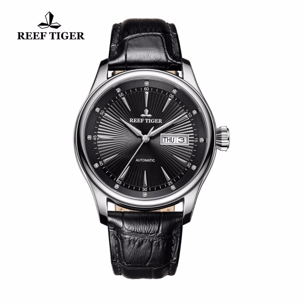 2017 Reef Tiger/RT Mens Dress Watch with Date Day 316L Steel Calfskin Strap Watches Automatic Watches RGA8232 2017 reef tiger rt mens designer chronograph watch with date calfskin nylon strap luminous sport watch rga3033