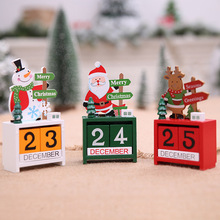 Christmas Wooden Cubes Daily Perpetual Desktop Calendar Santa Snowman Office Home Decoration MDP66