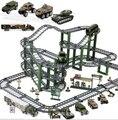 Ingeniería de aleación de coches de tren eléctrico militar pista montaje de la serie de juguetes para niños regalo de los niños brinquedo educativo