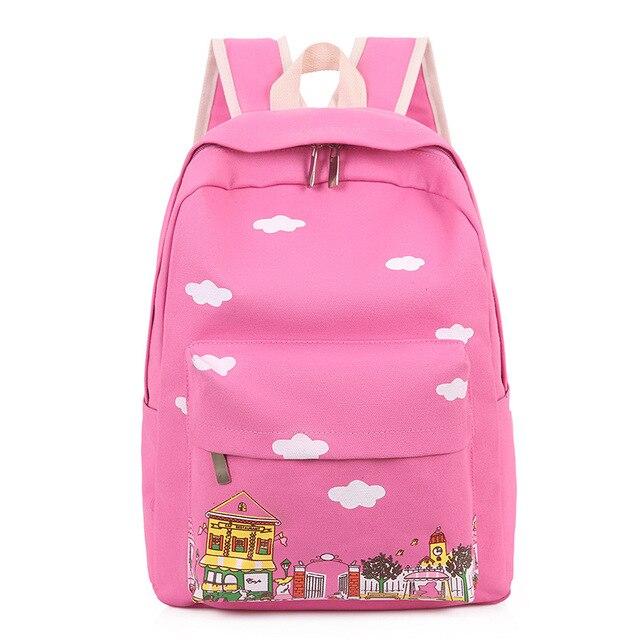 820e8e1ac4 Canvas cartoon printing cute children school bag kids travel backpack  mochila infantil escolar bolso feminina for girls boys