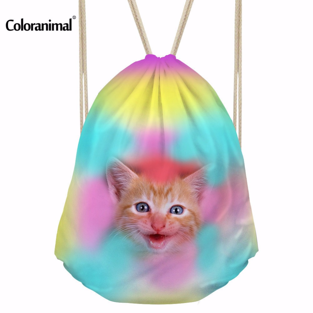 Coloranimal Casual Animal Print Women String Backpack Colorful Cat Dog Pattern Travel Drawstring Bag Girls Cinch Sack Shoes Bags