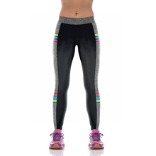 NEW KYK1090 Sexy Girl Women Solid Gray Black Patchwork 3D Prints High Waist Running Fitness Sport Leggings Jogger Yoga Pants