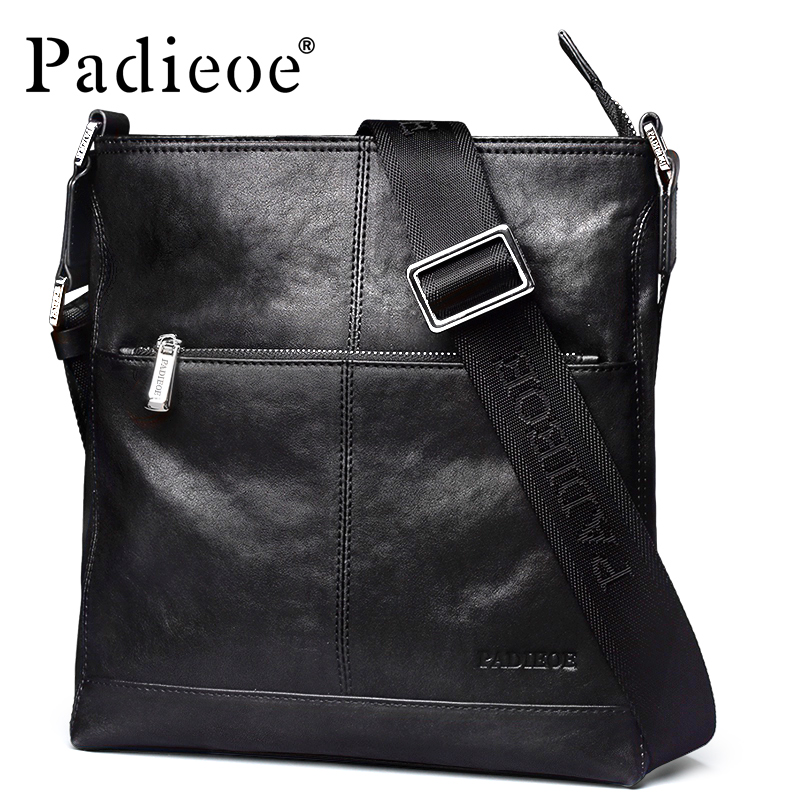 Padieoe Luxury Genuine Cow Leather Men's Shoulder Bag Fashion Casual Business Man Crossbody bag High Quality Durable Handbag padieoe new arrival luxury genuine cow leather men handbag business man fashion messenger bag durable shoulder crossbody bags