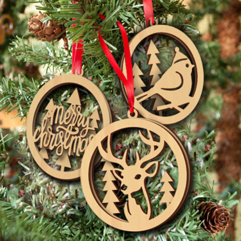 3Pcs Set Christmas Wooden Christmas Ornament Decor Tree Hanging Pendant Ornament ...