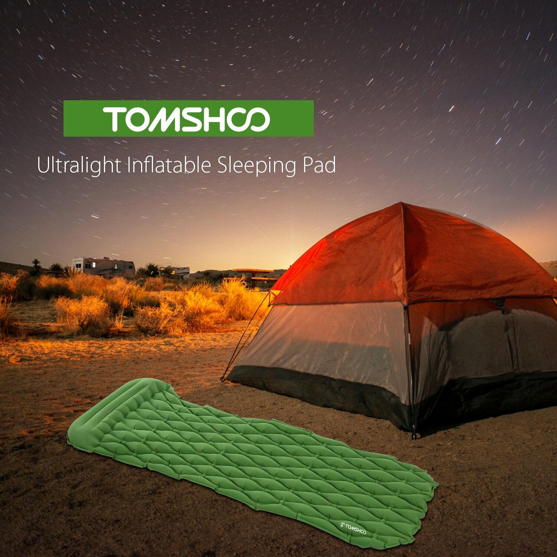 TOMSHOO Ultralight Inflatable Sleeping Pad Mattress Outdoor Camping Mats Sleeping Hiking Mat Travel Sleeping Mat with Pillow 3 in 1 inflatable pillow sleeping eyeshade earplug travel set random color