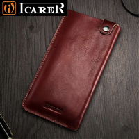 Original ICarer For IPhone 8 Plus Case Luxury Vintage Genuine Leather Phone Pouch Bags Holster Cases
