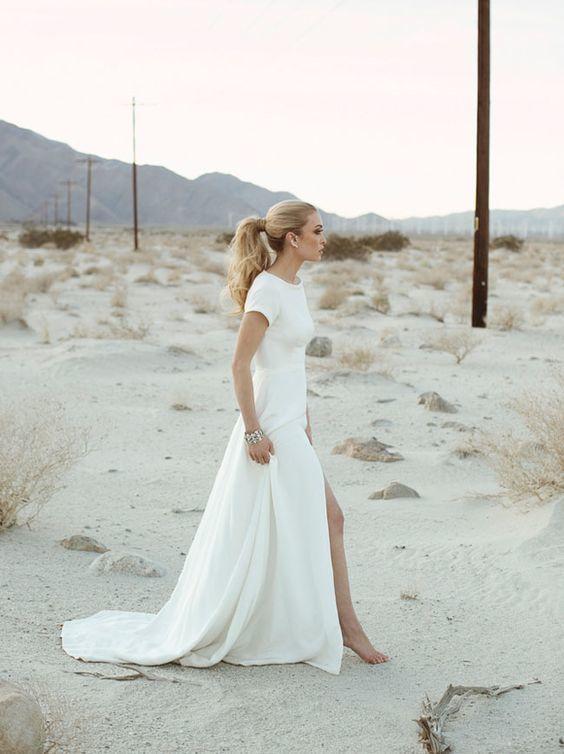 white simple scoop short sleeves satin dress vestidos de novia para playa wedding gown robe mariage