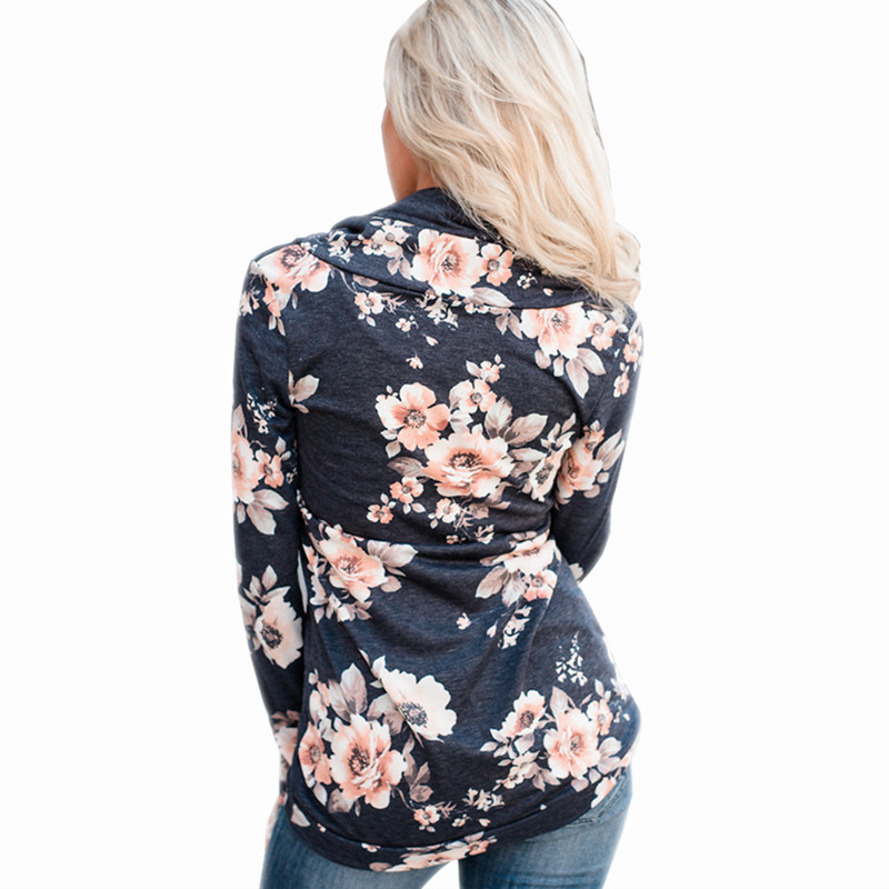 S XL autumn winter turtleneck long sleeve t shirt floral print casual leisure t shirt women tops t shirt blouse tops in T Shirts from Women 39 s Clothing