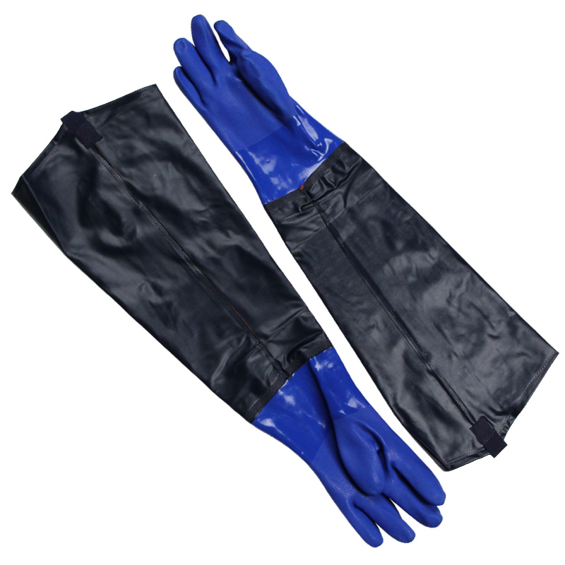 Free shipping 2pairs 67CM super lengthen widen and thicken PVC latex safety gloves winter thermal protecting velvet lining in Hand Tool Sets from Tools