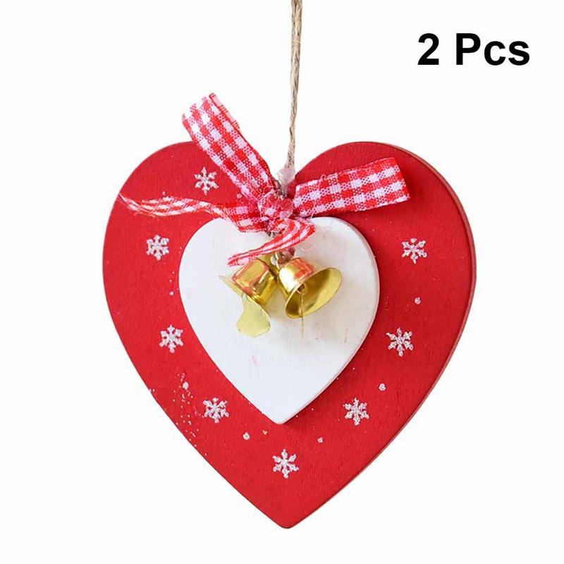 2pcs Wood Christmas Tree Ornaments Love Heart Pendant With ...
