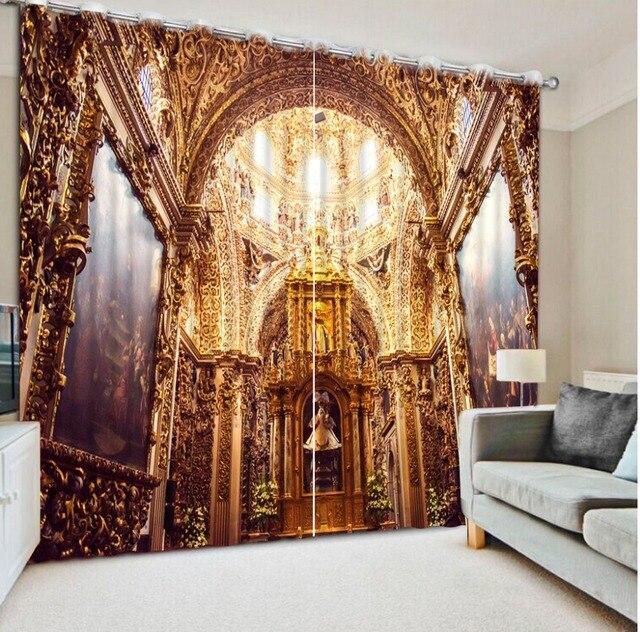 Moderne maison décor vintage rose rideaux 3d rideaux Européenne ...