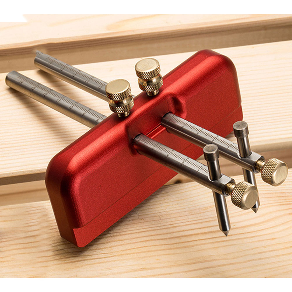 New Aluminium Alloy Carpenter Woodworking Scriber Tool Set Wood Ink Marker Tools DIY Woodworking Center Alignment Gauge Tools