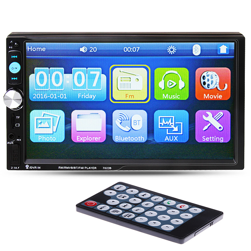 Car MP5 Player 7'' HD Touch Screen Bluetooth Phone Stereo Radio FM/1080P/MP4/MP3/Audio/Video USB Auto Electronics In Dash 2 Din
