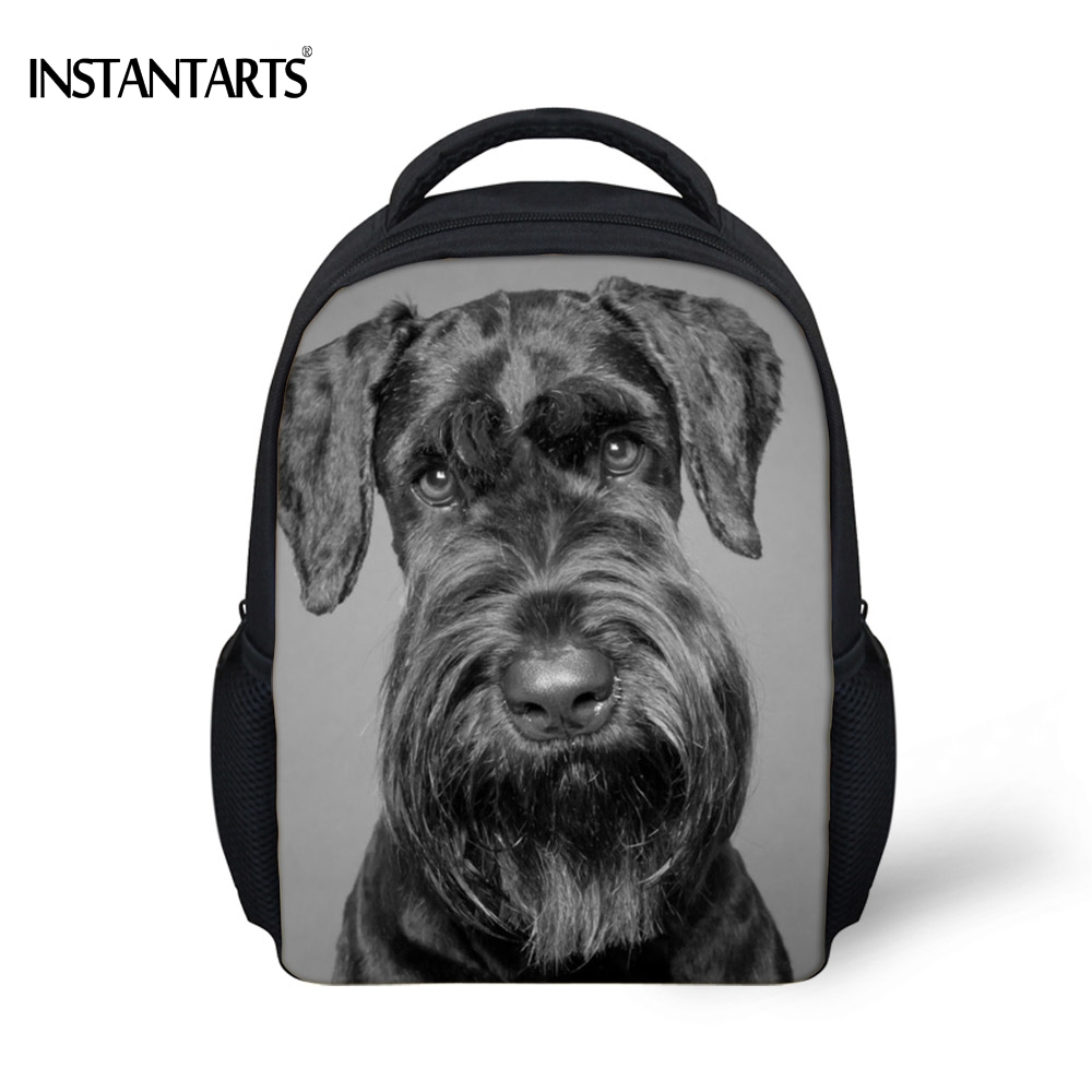 INSTANTARTS Cute Dog Schnauzer Printed Boys Girls Mini School Bags Kindergarten Students Bookbags Casual Children Baby Backpacks