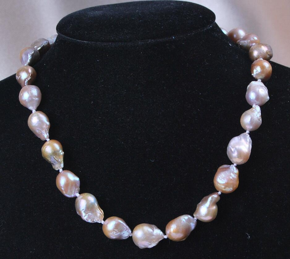 FREE SHIPPING>@@> Hot sale new Style >>>>> AAA+ Genuine 12x16mm Natural Lavender South Sea Baroque Pearl Necklace 18