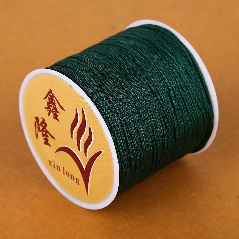 50 метров 0,8 мм нейлоновый шнур, китайский Узелок, шнур макраме, браслет, плетеный шнур, бисероплетение, сделай сам, ювелирный шнур, нить - Цвет: Dark Green