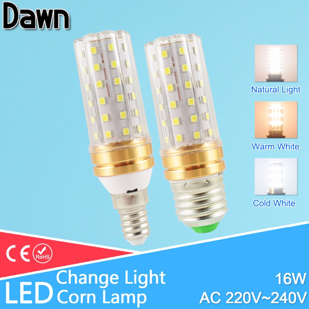E27 LED Lamp E14 16W LED lamp AC220V 240V Corn Bulb Light 60led SMD 2835 Candle change color warm white cold white/natural white e27 25w ac220v 240v 98pcs 5730smd warm white led corn light