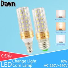 E27 LED Lamp E14 16W LED lamp AC220V 240V Corn Bulb Light 60led SMD 2835 Candle change color warm white cold white/natural white(China)
