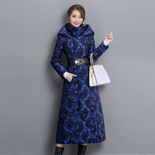 Women's Winter Coat 2016 New Vintage Jacquard Print Trench Winter Outwear Long Thickening Cotton-padded Hooded Plus Size Female
