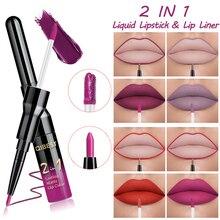 Double Head Matte Liquid Lipstick Lip Gloss&Lip Liner Pen Red Purple Moisturizing Wateproof Long Lasting Lipstick Set Lip Makeup hannaier 269 h01 pen style moisturizing lipstick lip gloss red
