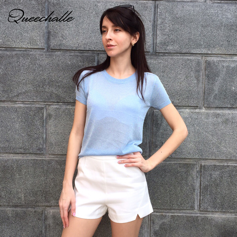 Queechalle Knitted Pullover Women's Casual Round Neck Solid Loose Thin Sweater Female Bright Silk Brief Short Sleeve Women Tops