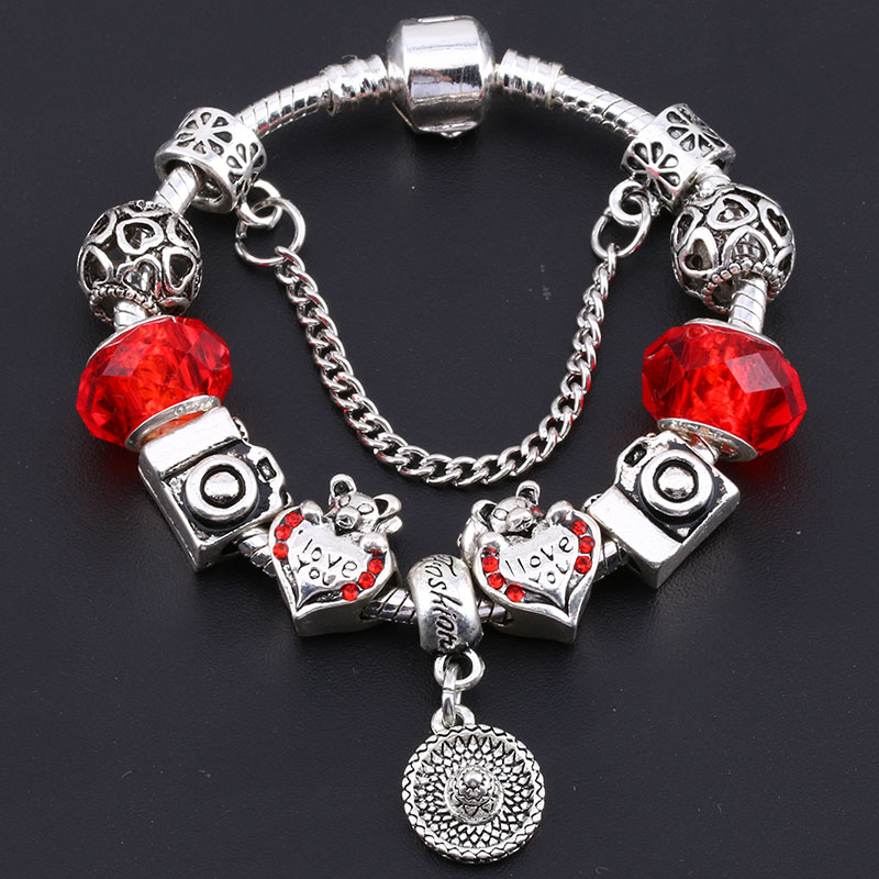 BAOPON Crystal Heart Charm Bracelets & Bangles Glass Beads Fine Bracelets for Women Jewellery Pulseira Feminina BR321