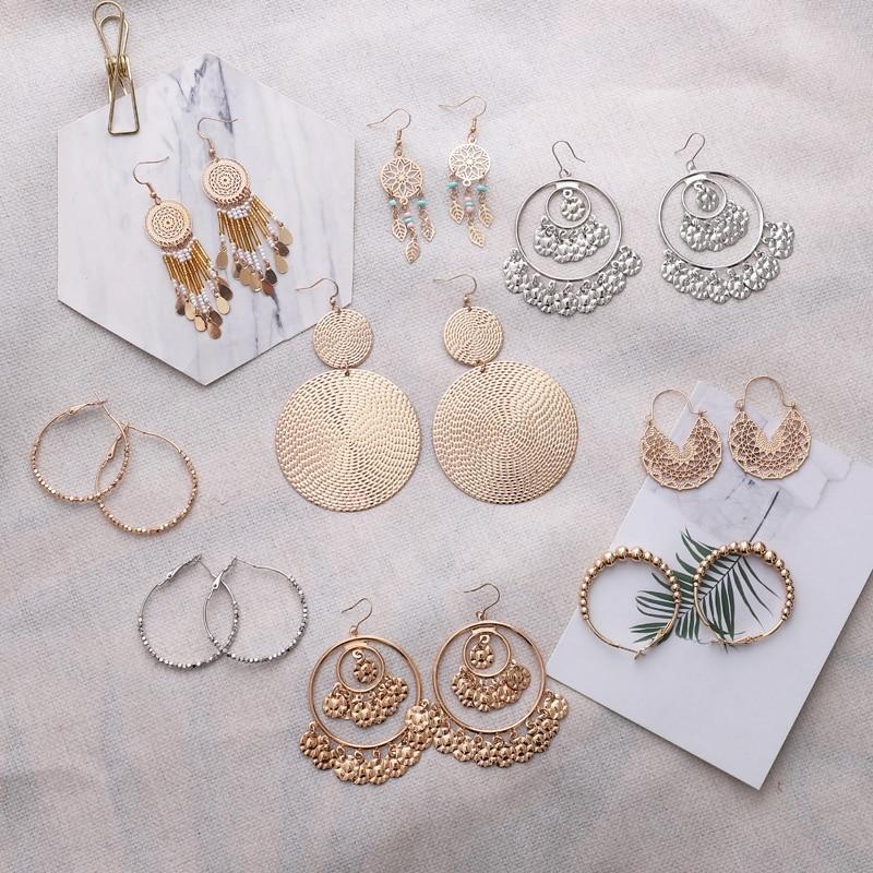 Boucle D/'oreille Cercle Spirale Couleur Or Femme Anniversaire Bijoux Cadeau Mode