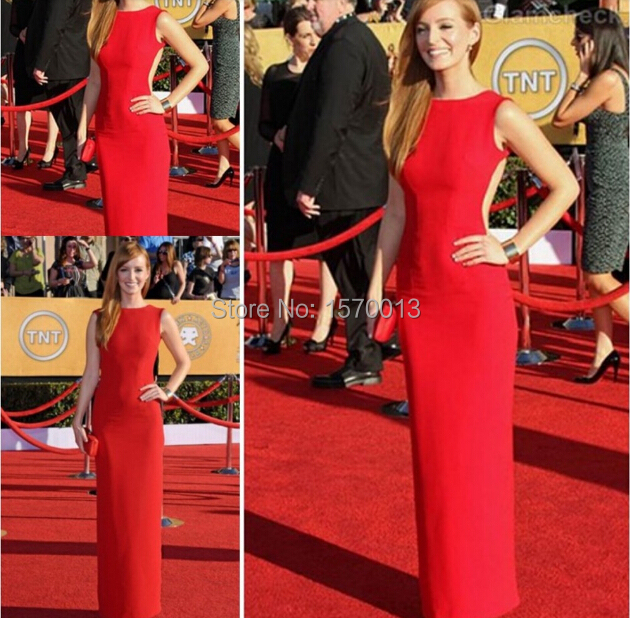 Ahna O Reilly Red Backless SAG Awards Long Formal Famous Celebrity Dresses  2015 Prom Dress Party Red Carpet Gown 23a349d7d6b2