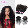Brazillian Curly Hair With Closure 3 Bundles Kinky Curly Virgin Hair With Closure Annabelle Hair Brazilian Curly With Closure