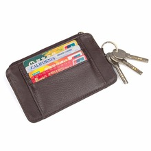 J.M.D Genuine Cow Leather Card Holder Mini Coin Pocket With Key Ring For Unisex  8178C
