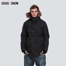 Gsou snow invierno nieve traje de esquí chaqueta de snowboard de los hombres aislados negro caliente impermeable ropa chaqueta hombre veste homme ski esqui