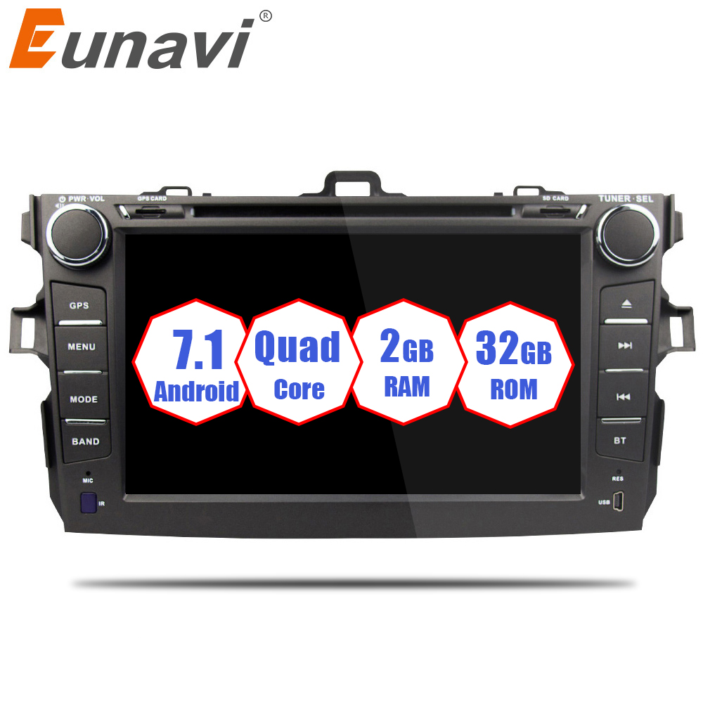 Eunavi 2 Din Android 7.1 car dvd player For Toyota corolla 2007 2008 2009 2010 2011 in dash car radio gps video wifi bluetooth for toyota corolla support year 2007 2008 2009 2010 with 3g wifi multi touch screen car dvd gps navigation build in bluetooth radio with rds analog tv aux