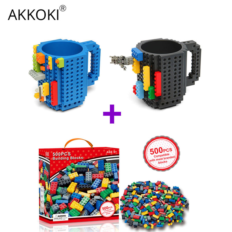 350ml/12oz With 500 Block Puzzle DIY Building Blocks Mug Creative Milk Coffee Cup Build on Brick Drinkware LEGO Drinking Cups