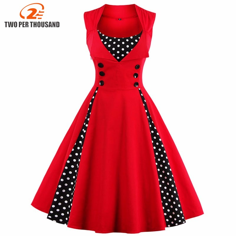 S-5XL Wanita Robe Pin Up Dress Retro 2018 Vintage 50s 60s Rockabilly Dot Swing Pakaian wanita musim panas Elegan Tunik Vestido