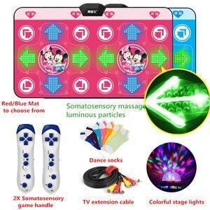 Image 2 - Esterilla de baile de Yoga luminosa para dos jugadores, Interfaz de ordenador de Tv, juego en casa, manta para bailarinas adelgazante, almohadilla con dos mandos