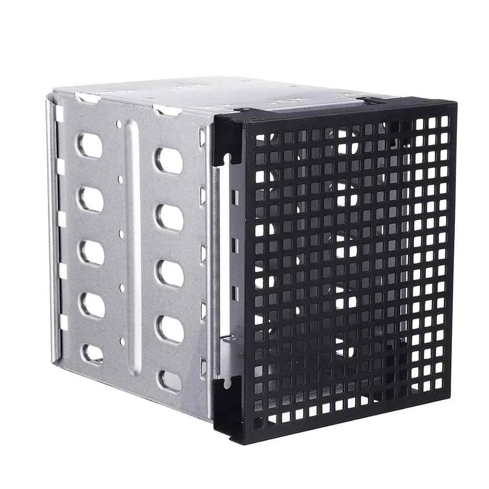 "5.25"" to 5x 3.5"" SATA SAS HDD Cage Tray Rack Bracket with Fan Space Convert 3x Optical Drive Bays to 5x Hard Drive Positions"