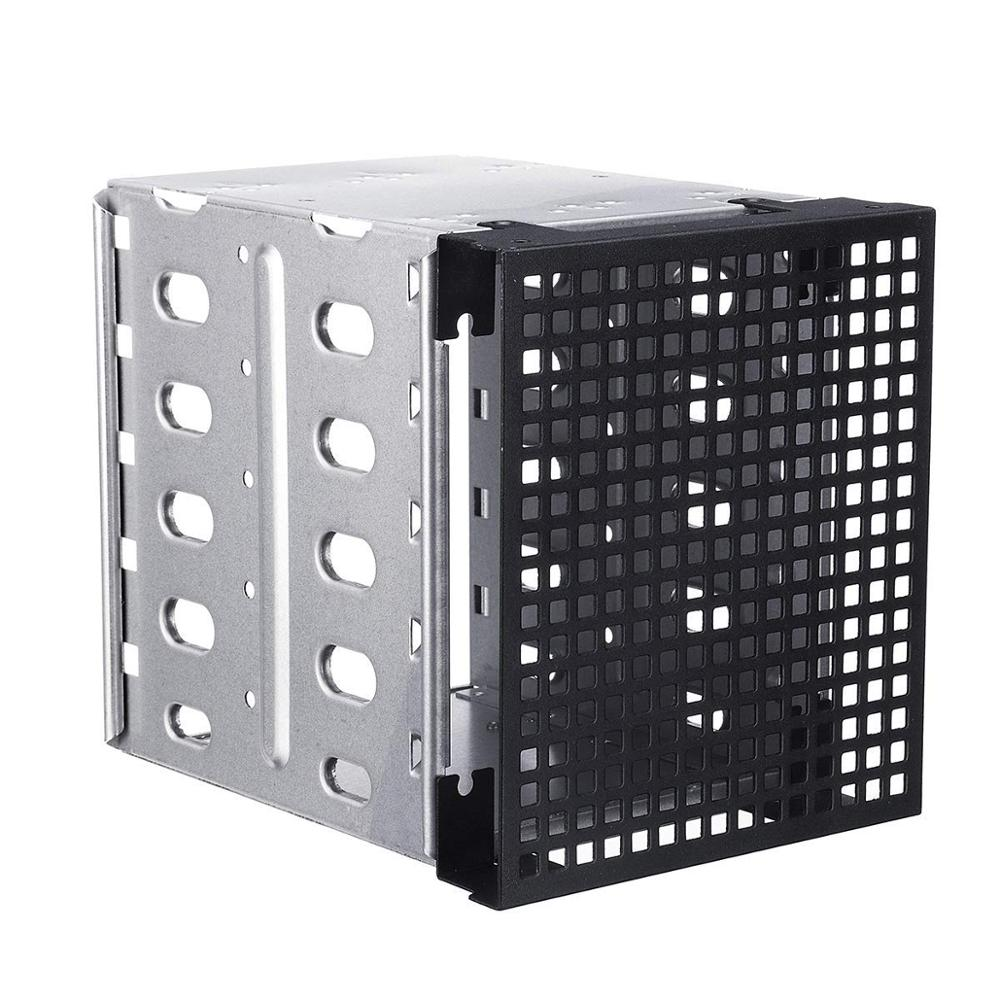 """5.25"""" To 5x 3.5"""" SATA SAS HDD Cage Tray Rack Bracket With Fan Space Convert 3x Optical Drive Bays To 5x Hard Drive Positions"""