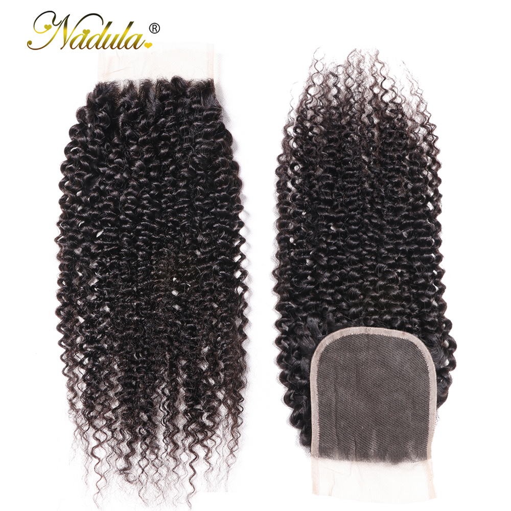 Nadula Hair Kinky Culry  Closure 10-20inch Swiss Lace Closure 4*4 Lace Closure 100% Human  Hair Natural Color 3