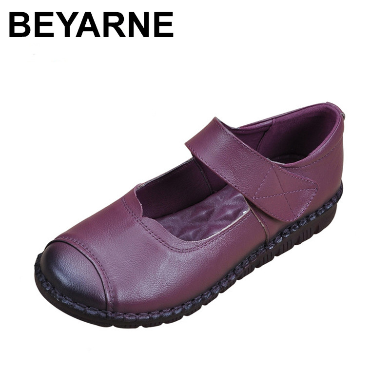 BEYARNE  Genuine Leather Flat Shoes Woman Loafers 2018 New Fashion Women Casual Mary Janes Shoes Handmade Mother Flats 2017 new handmade women flats genuine leather oxfords shoes woman fashion ballets flats casual moccasins for women sapatos mujer