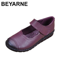 BEYARNE Genuine Leather Flat Shoes Woman Loafers 2018 New Fashion Women Casual Mary Janes Shoes Handmade