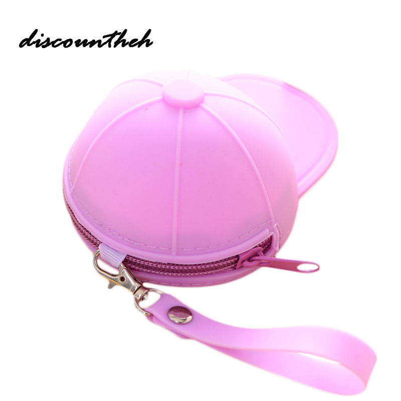 Cap Hat Style Jelly Candy Color Silicone Coin Purse Kids Gift Cartoon Trendy  Mini Bag Lady Change Purse Women Smart Wallets one piece style cap hat brown beige
