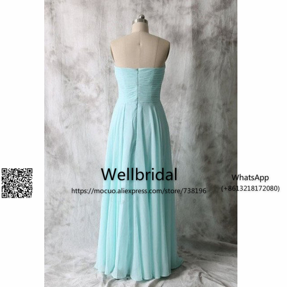 Long Blue Bridesmaid Dresses,Chiffon Bridesmaid Dress,Simple Bridesmaid Dress 2