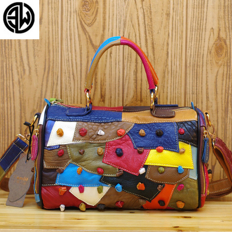 2018 New Fashion Women Messenger Bags Genuine leather Bag Women Luxury Handbags Multicolor Splicing Genuine cow leather Bags2018 New Fashion Women Messenger Bags Genuine leather Bag Women Luxury Handbags Multicolor Splicing Genuine cow leather Bags