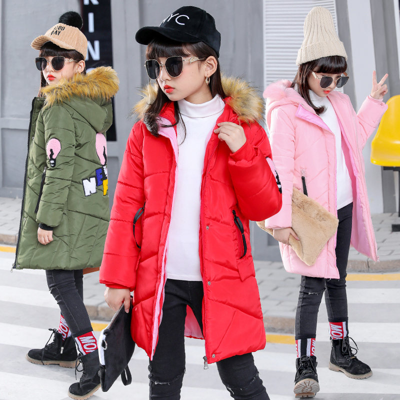 Teenagers Warm Coat Snow Wear Winter Babygirl Jackets Coats For Teenage Girls 10 Years Cotton-Padded Clothes With Fur Hoodies new 2017 men winter black jacket parka warm coat with hood mens cotton padded jackets coats jaqueta masculina plus size nswt015