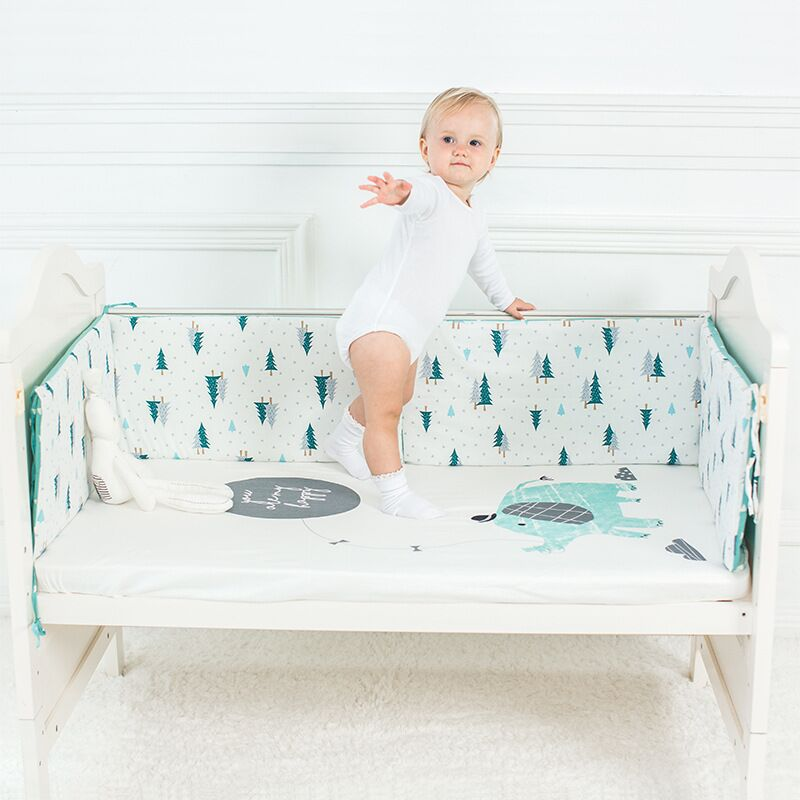 1 Stücke Baby Bett Stoßfänger Baumwolle Baby Krippe Protector Cartoon Bett Stoßfänger In Krippe Für Neugeborene Multi-farbe Kinderbett Stoßstange 120*30 Cm