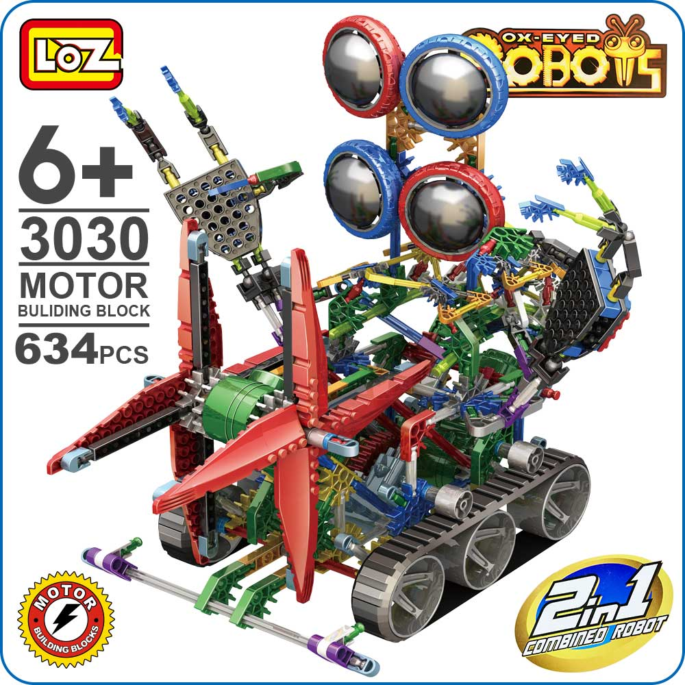LOZ ideas Toy Big 4-Eyed Robot Building Blocks Technic Bricks Large Motor Diy Battery Power Action Enlighten Brick Toys LOZ 3030 150mm 110mm power tool agate diamond saw blades no tooth slice grinding wheel cutting stone glass jewelry jade cutting disc