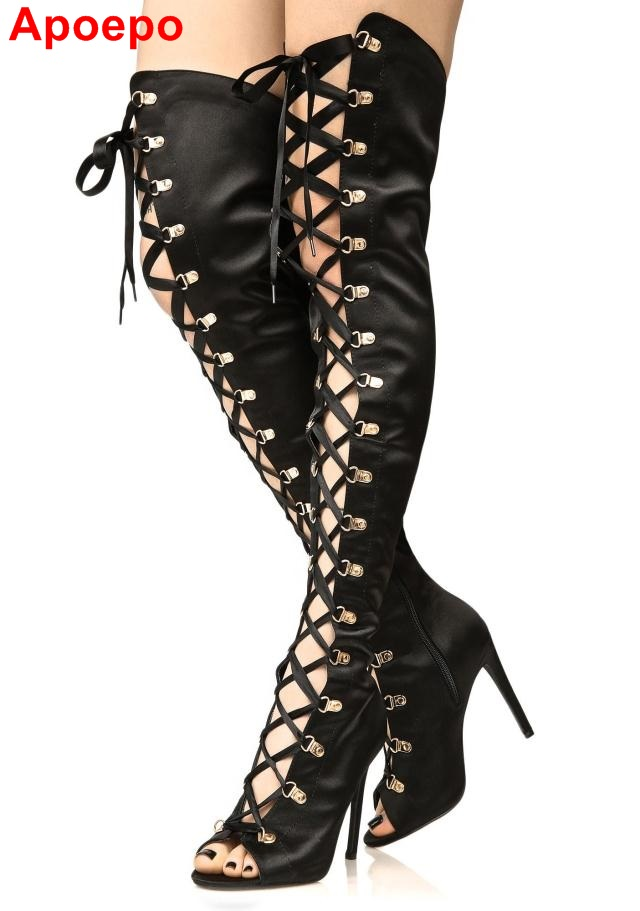 Newest 2017 Black Pink Leather Peep Toe Lace-up Gladiator Sandal Boots Peep Toe Cut-out Over The Knee Boots Strappy Shoes Woman